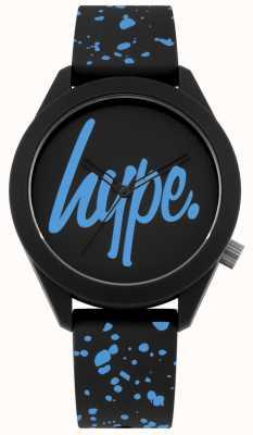Hype | schwarzes und blaues Silikonband für Herren | schwarzes / blaues Zifferblatt | HYG003BU