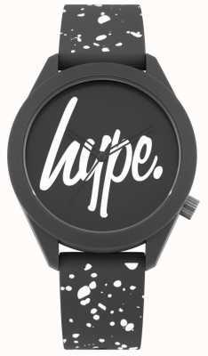 Hype | silbernes Armband mit grauem und weißem Druck | graues Zifferblatt | HYG003BW