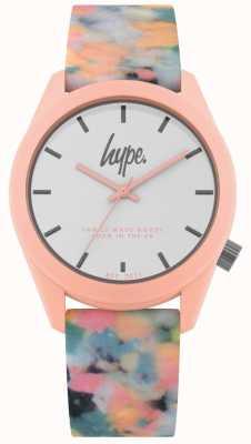 Hype | rosa mehrfarbiges Silikonband | weißes Zifferblatt | HYU009PU