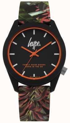 Hype | schwarzes Blatt / Blumensilikonband | schwarzes Zifferblatt | HYU009BN