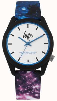 Hype | blaues und lila Galaxiedrucksilikon | weißes Zifferblatt | HYU009BV