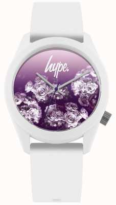Hype | weißes Silikonband | lila Blütenzifferblatt | HYU010WV