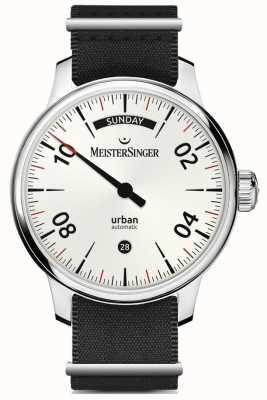 MeisterSinger Urban Day Date Opal Silber | schwarzes Nylon und braunes Armband URDD901