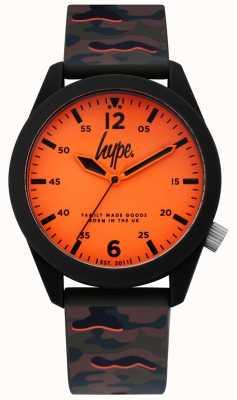 Hype | Tarnungssilikonband der Männer | oranges Zifferblatt | HYG019NO