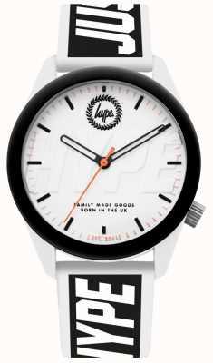 Hype | Herrenuhr | weißes und schwarzes Silikonband | HYU018BW