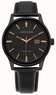 Joules | Herren Marfield Uhr | schwarzes Lederarmband | schwarzes Zifferblatt | JSG009NB