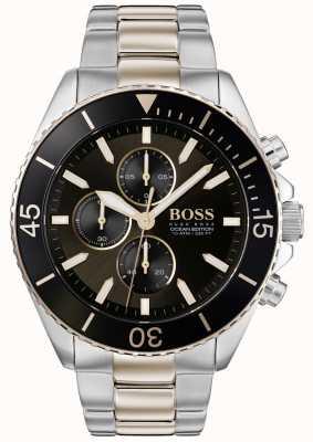 Boss | Herren Ozean Edition | zweifarbiger Edelstahl | schwarzes Zifferblatt 1513705