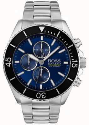 Hugo Boss   Herren Ozean Edition   Silber Edelstahl   blaues Zifferblatt   1513704