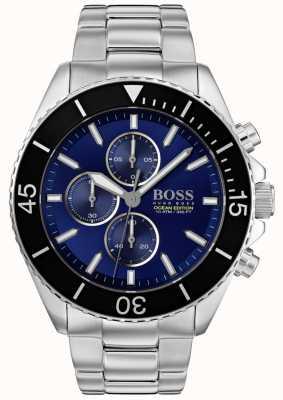 Boss | Herren Ozean Edition | Silber Edelstahl | blaues Zifferblatt | 1513704