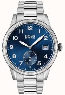 Hugo Boss   Herren Legacy Uhr   Edelstahl   blaues Zifferblatt   1513707