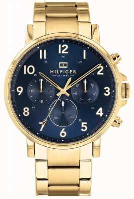 Tommy Hilfiger Daniel | Gold IP Armband | blaues Zifferblatt 1710384