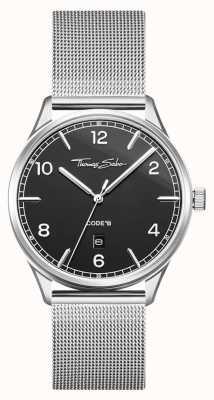 Thomas Sabo | Silberarmband aus Edelstahl | schwarzes Zifferblatt | WA0339-201-203-40