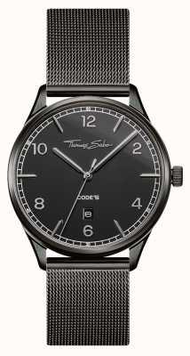 Thomas Sabo | Edelstahl schwarz Mesh-Armband | schwarzes Zifferblatt | WA0342-202-203-40