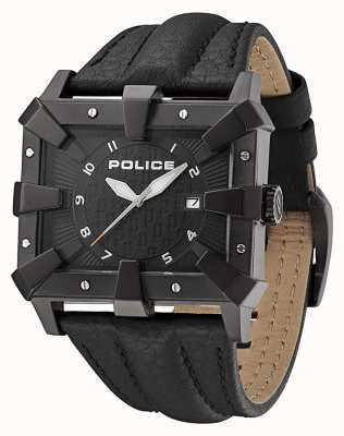Police Schwarzes Lederarmband mit schwarzem Zifferblatt PL.93404AEU/02A