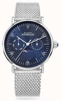 Michel Herbelin Montre inspiration Mondphase Edelstahlband blaues Zifferblatt 12747/AP15B