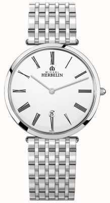 Michel Herbelin Herren Epsilon Edelstahl Armband weißes Zifferblatt 19416/B01N