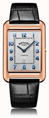 Rotary | Herren schwarzes Lederarmband | Roségoldgehäuse | GS05284/70