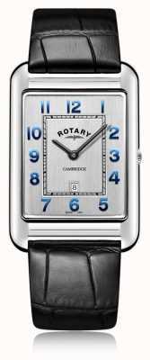 Rotary | herren schwarzes lederarmband datum | GS05280/70