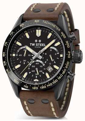 TW Steel | Herren braunes Lederband | schwarzer Chronograph | CHS1