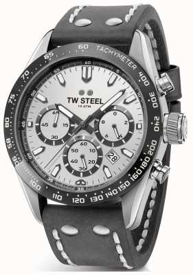TW Steel | Herren dunkelgraues Lederband | silbernes Zifferblatt | CHS3