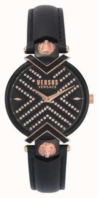 Versus Versace | schwarzes Lederarmband für Damen | gemustertes Zifferblatt | VSPLH1519