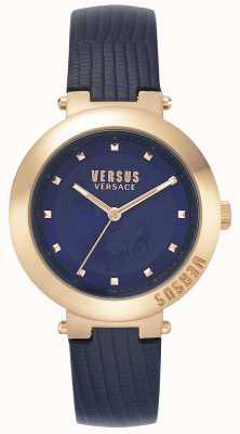 Versus Versace | damen blaues lederarmband | roségoldfarbenes Gehäuse | VSPLJ0419