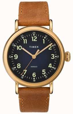 Timex | Herren Tan Lederband | blaues Zifferblatt | TW2T20000D7PF