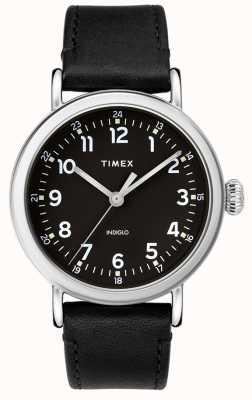 Timex | schwarzes Lederarmband | schwarzes Zifferblatt | TW2T20200D7PF