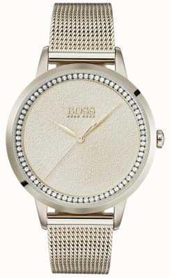 Boss | damen blassrosa gold mesh armband | 1502464