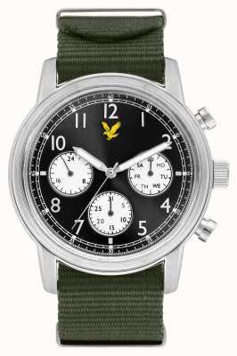 Lyle & Scott Herrenbefehl grünes Nato-Armband schwarzes Zifferblatt LS-6005-02