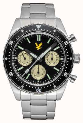 Lyle & Scott Herren Highland Edelstahl Armband schwarzes Zifferblatt LS-6011-11