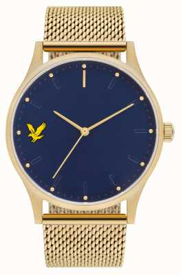 Lyle & Scott Mens Hope Se Gold pvd plattiertes Stahlnetz Armband blaues Zifferblatt LS-6013-44