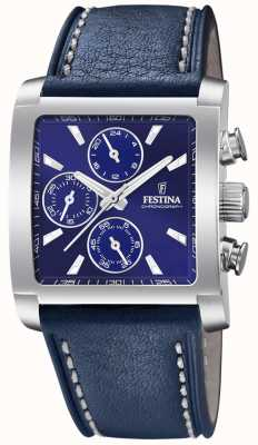 Festina | herren edelstahl chronograph | blaues Lederband | F20424/2
