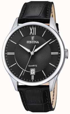 Festina | Herren Edelstahl | schwarzes Lederband | schwarzes Zifferblatt | F20426/3