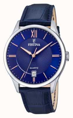 Festina | Herren Edelstahl | blaues / rosafarbenes Zifferblatt | blueleather | F20426/5