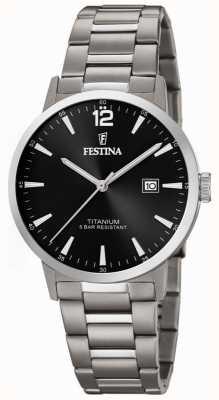 Festina | Herrenuhr aus Titan | schwarzes Zifferblatt | Titan-Armband | F20435/3