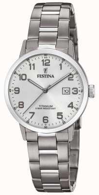 Festina | Damen Titan Uhr | silbernes Zifferblatt | Titanarmband | F20436/1