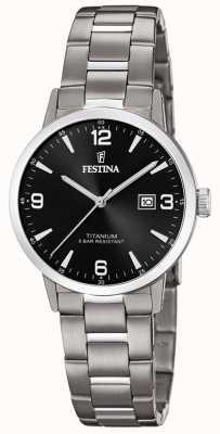 Festina | Titanuhr für Damen | schwarzes Zifferblatt | Titan-Armband | F20436/3
