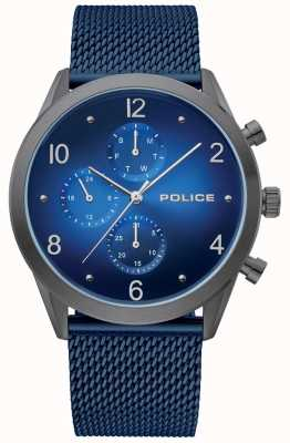 Police | Herren Waffenkoffer blau Multi Dial | blaues Mesh-Armband | 15922JSU/03MM