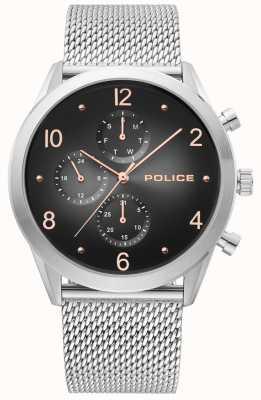 Police | silbernes Maschenband für Herren | schwarzes Multi-Dial | 15922JS/02MM