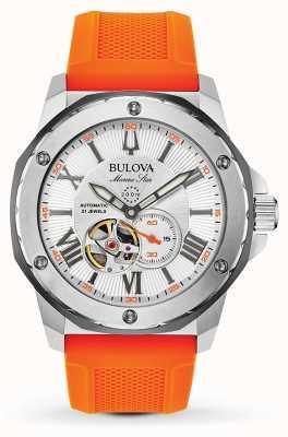 Bulova Automatisches Marine Star Orange Kautschukarmband für Herren 98A226