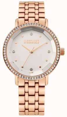Missguided | Damen Armband aus roségoldfarbenem Edelstahl | weißes Zifferblatt | MG021RGM