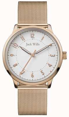 Jack Wills | Frauen wissen | roségold mesh | weißes Zifferblatt | JW017WHRS