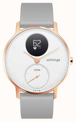 Withings Stahl hr 36mm Roségold weißes Zifferblatt graues Silikonarmband HWA03B-36WHITE-RG-S.GREY-ALL-INTER