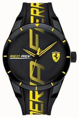 Scuderia Ferrari | mens redrev | schwarzes Kautschukband | schwarzes Zifferblatt | 0830615
