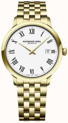 Raymond Weil | herren toccata | gold edelstahlarmband | weißes Zifferblatt 5485-P-00300