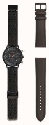 Breil | Herren schwarz Edelstahl Edelstahl Uhr | wechselbarer Riemen | TW1808