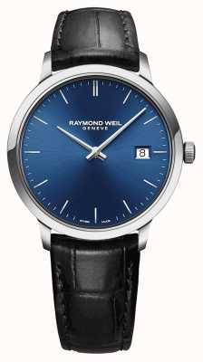 Raymond Weil Herren Tccata blaues Zifferblatt schwarzes Lederarmband 5485-STC-50001