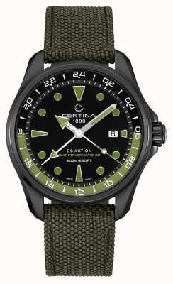 Certina Herren ds action gmt powermatic 80 grünes Armband schwarzes Zifferblatt C0324293805100