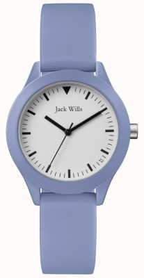 Jack Wills | blaues Kautschukband für Damen | weißes Zifferblatt | JW008LTBL